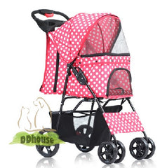 Polka Dot Red 4 wheel Pet Stroller - DDhouse Singapore Online Pet Supplies and Pet Products - 1