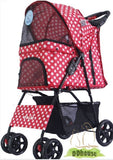 Polka Dot Red 4 wheel Pet Stroller - DDhouse Singapore Online Pet Supplies and Pet Products - 2