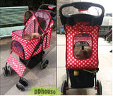 Polka Dot Red 4 wheel Pet Stroller - DDhouse Singapore Online Pet Supplies and Pet Products - 4