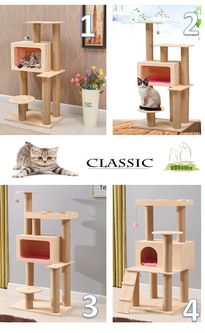 Wooden TV Box Design Stylish Cat Tree Pine Wood Cat Condo