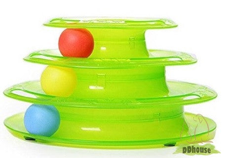 Greenish Colored Multi Tier Tower Of Track Toy For Cat