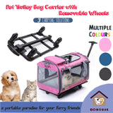 Pet Dog Cat Portable Travel Carrier Pet Trolley with wheels Sling Bag pet Carrier for dog and cats singapore