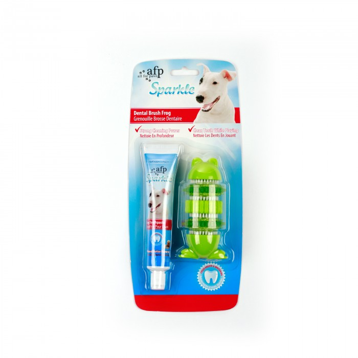 Self Brushing Frog with Peanut Butter Toothpaste-Sparkle Dog Dental toys