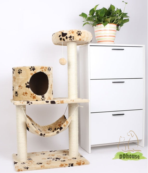 Nature Sisal Pole Paw Print Cat Condo