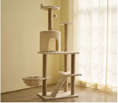 Pearl White Colored Plush Feel Cat Furniture Tree