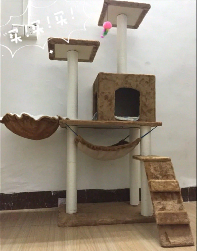 Caramel Brown Kitty Palace with Cupped Bedswing