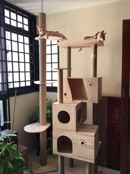 PVC Pole Deluxe 1.8m Wooden Cat Furniture w/ Triple Houses