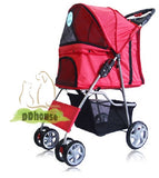 4 Wheel Red Pet Pram Pet Stroller - DDhouse Singapore Online Pet Supplies and Pet Products - 1