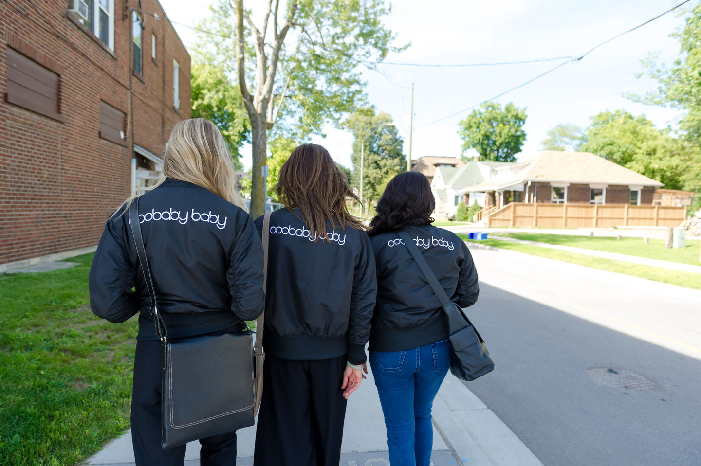 The ooobabybaby bombers are designed in Canada and are the perfect jacket with ruched sleeves, 2 domed exterior pockets, 1 interior pocket and machine washable.