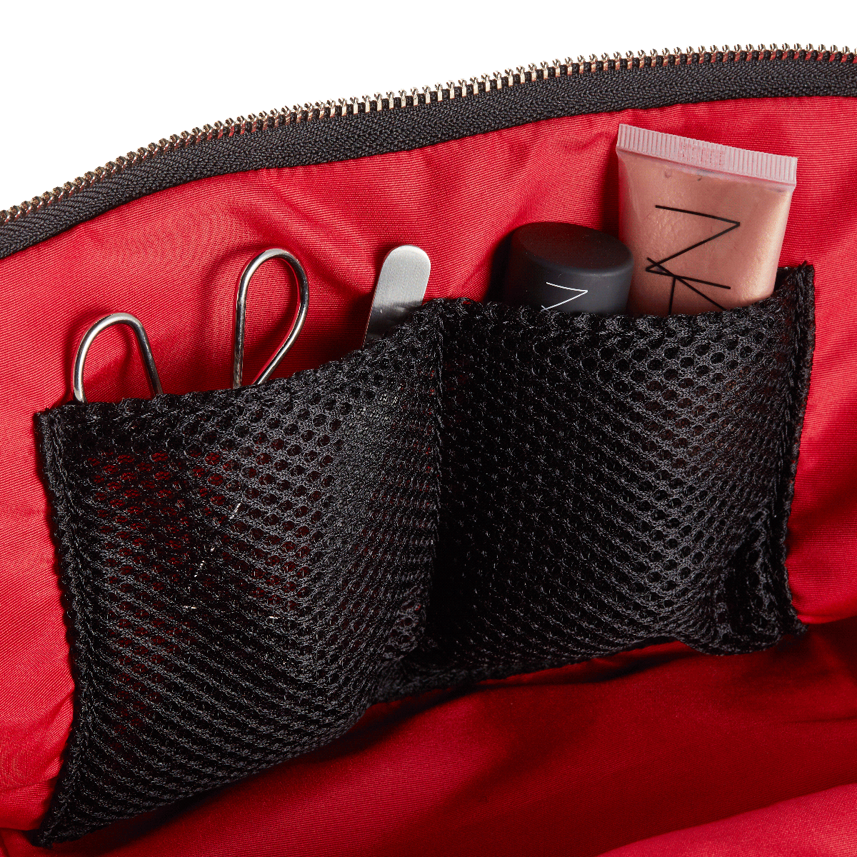 color: Satin Black Fabric with Red Interior; alt: Vacationer Large Size Makeup Bag | KUSSHI