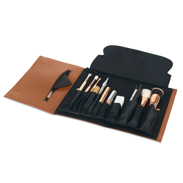 color: Camel Leather+Brush Organizer