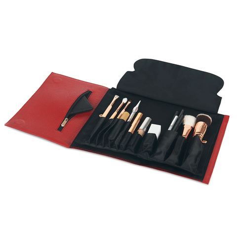 Red Leather+Brush Organizer