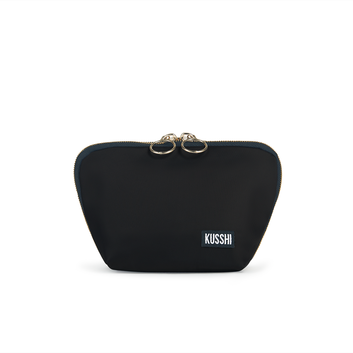 color: Satin Black Fabric; alt: Everyday Small Size Makeup Bag | KUSSHI