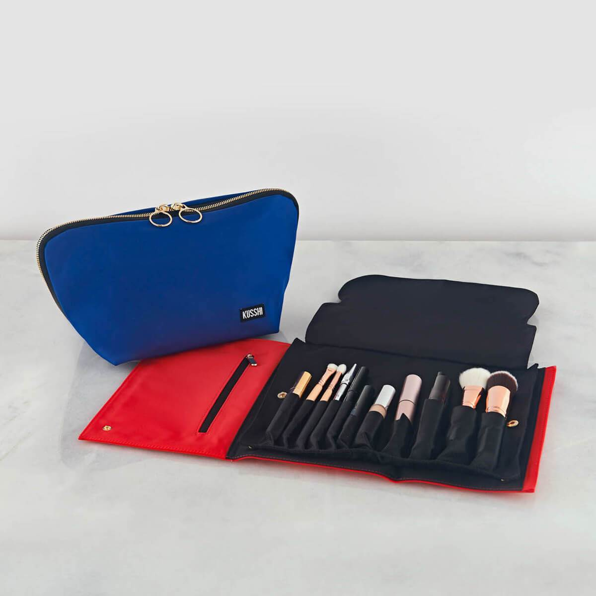 color: Luxurious Black Leather with Red Interior+Candy Apple Red Fabric; alt: Signature Medium Makeup Bag | KUSSHI