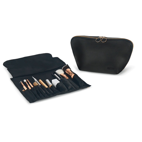 Signature+Luxurious Black Leather with Pink Interior+Brush Organizer
