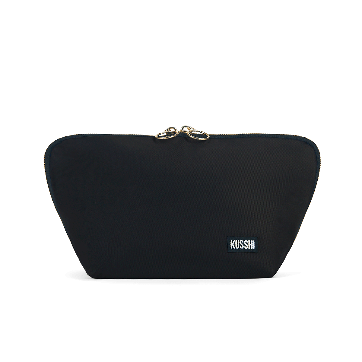 color: Satin Black Fabric with Red Interior; alt: Signature Medium Size Makeup Bag | KUSSHI