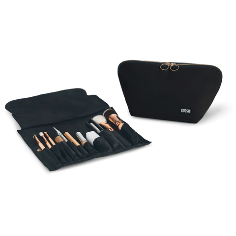Signature+Satin Black Fabric with Teal Interior+Brush Organizer