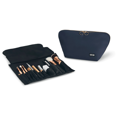 Signature+Navy Fabric with Pink Interior+Brush Organizer