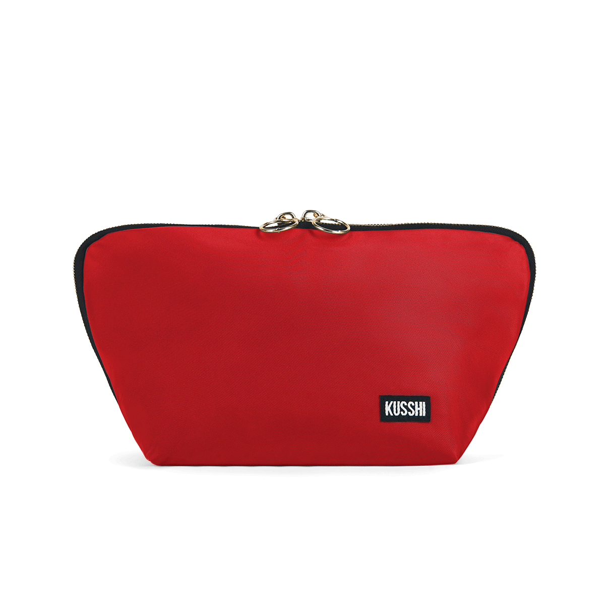 color: Signature+Candy Apple Red Fabric with Leopard Interior+None; alt: Signature Medium Makeup Bag | KUSSHI