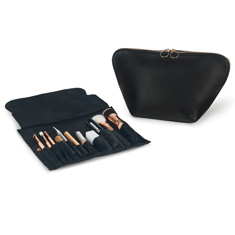 Vacationer+Luxurious Black Leather with Pink Interior+Brush Organizer