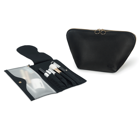 Vacationer+Luxurious Black Leather with Pink Interior+Pocket Organizer
