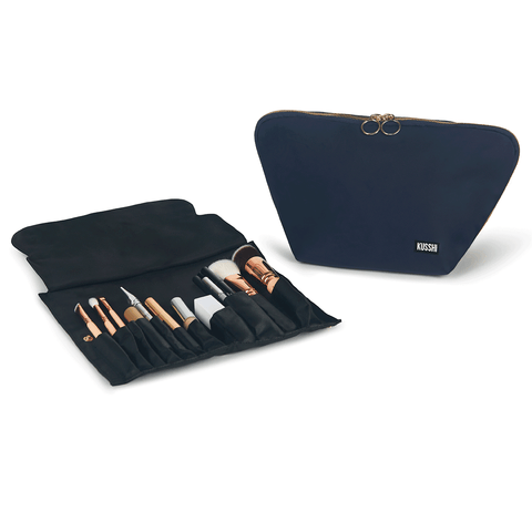 Vacationer+Navy Fabric with Pink Interior+Brush Organizer