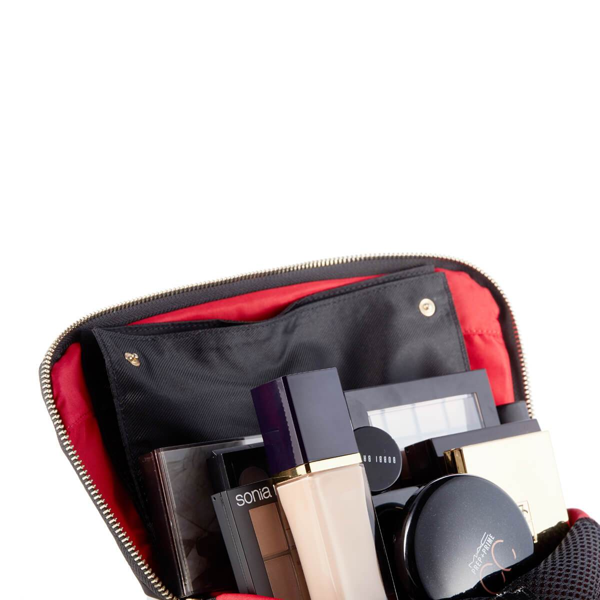 color: Signature+Luxurious Grey Leather with Red Interior+Brush Organizer; alt: Signature Medium Leather Makeup Bag | KUSSHI