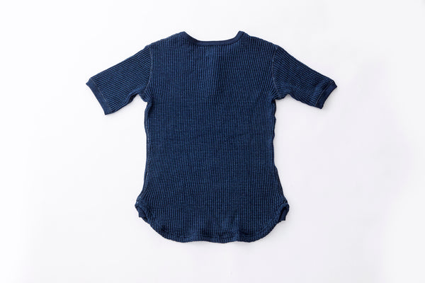 Heavy-Knit Indigo Henley Short Sleeve