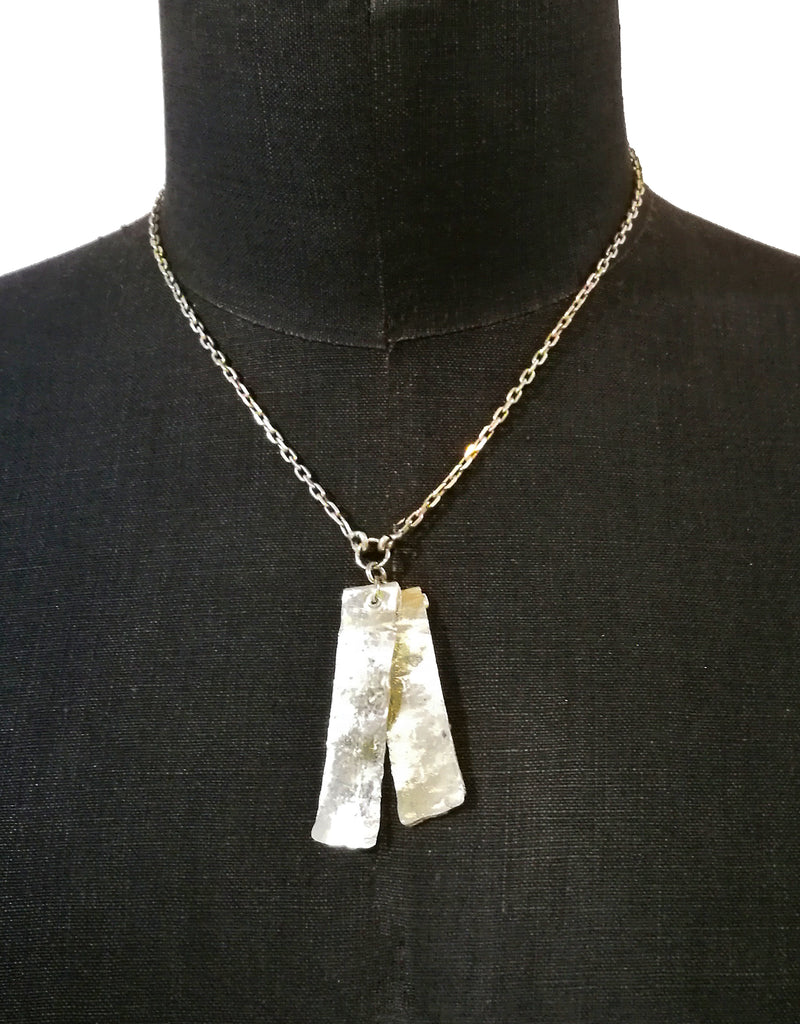 Sterling Silver Double Dog Tag Necklace. Hand battered silver pendants lend a modern, industrial feel to this piece. Unisex jewellery that looks amazing worn simply with a t-shirt, by itself or teamed with other jewellery.