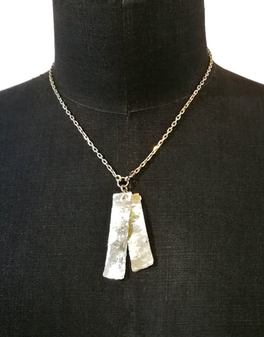 Double Dog Tag Necklace in Sterling Silver