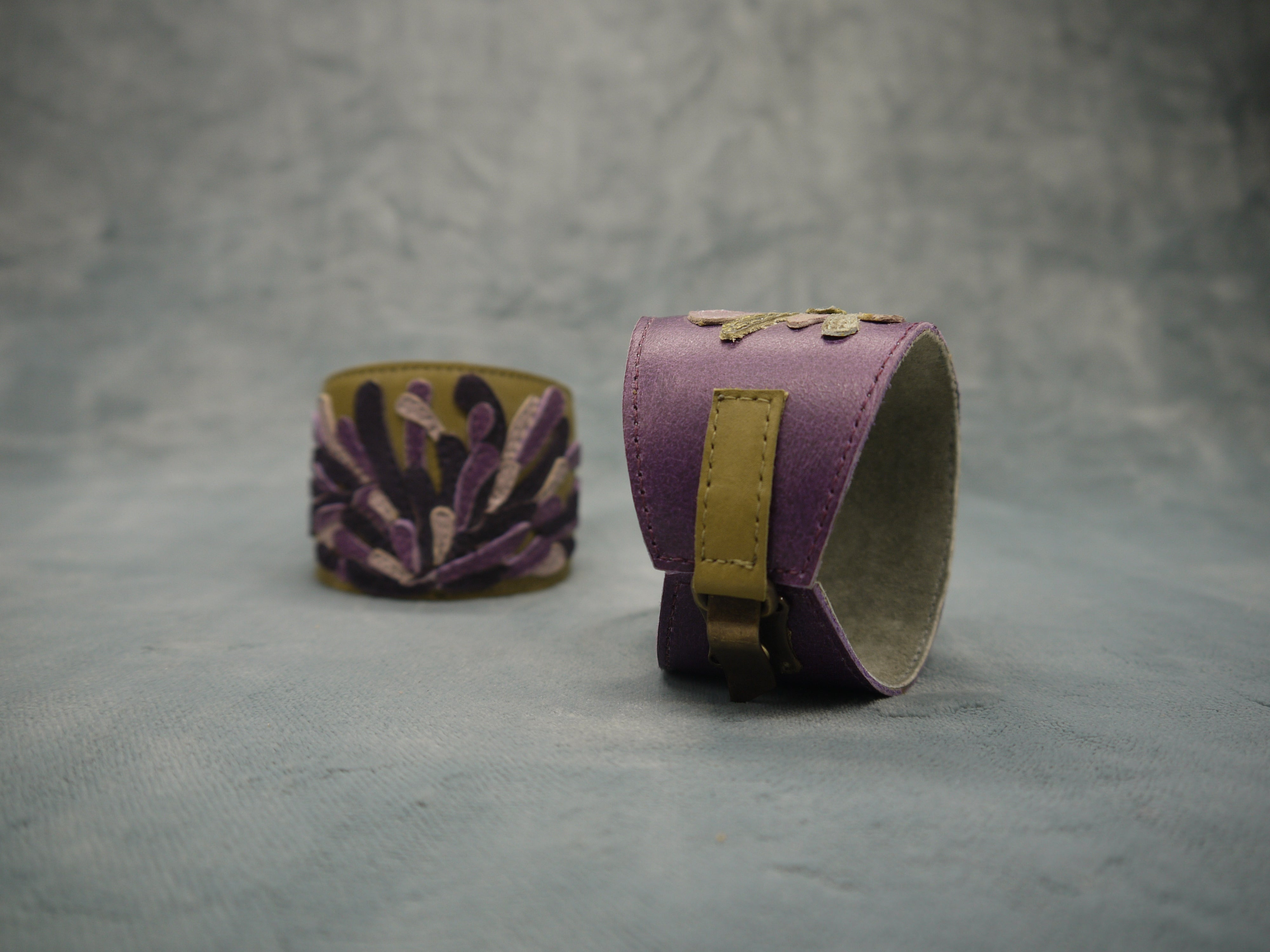 Leather 'Chrysanthemum' Floral Cuff