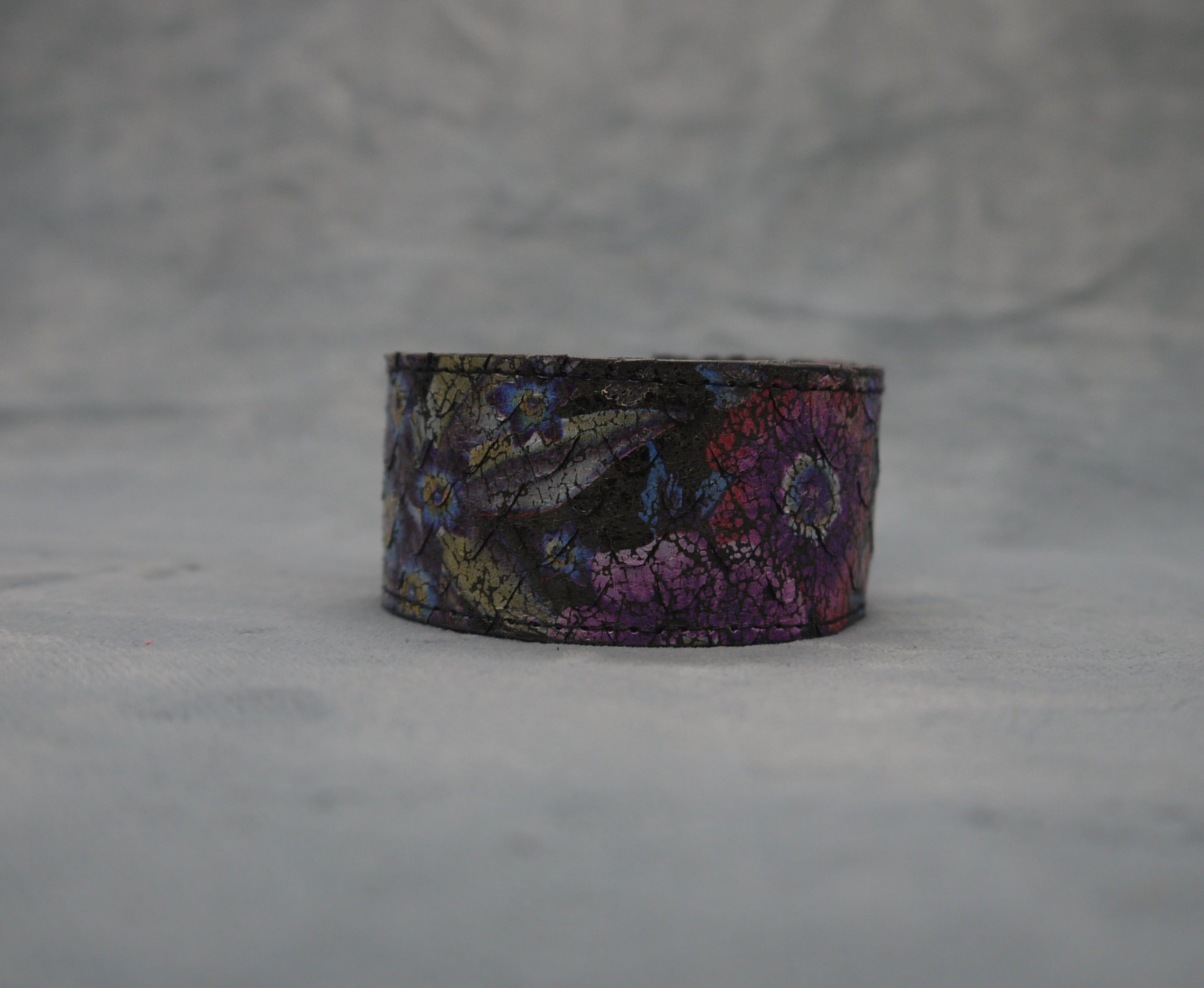 Slim Black Leather Cuff/Bracelet with Lilac contrast