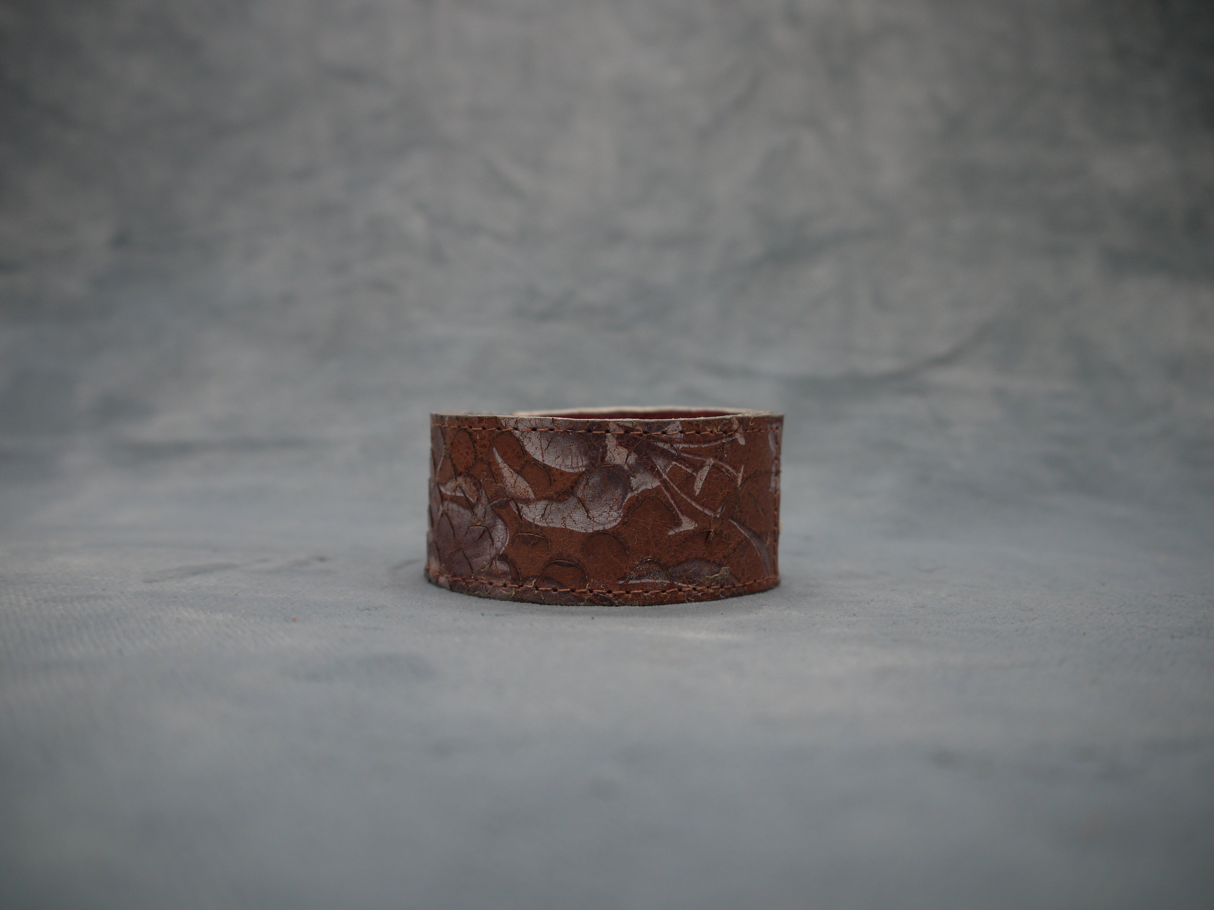 Slim Tan Floral Leather Cuff with Grey metallic contrast