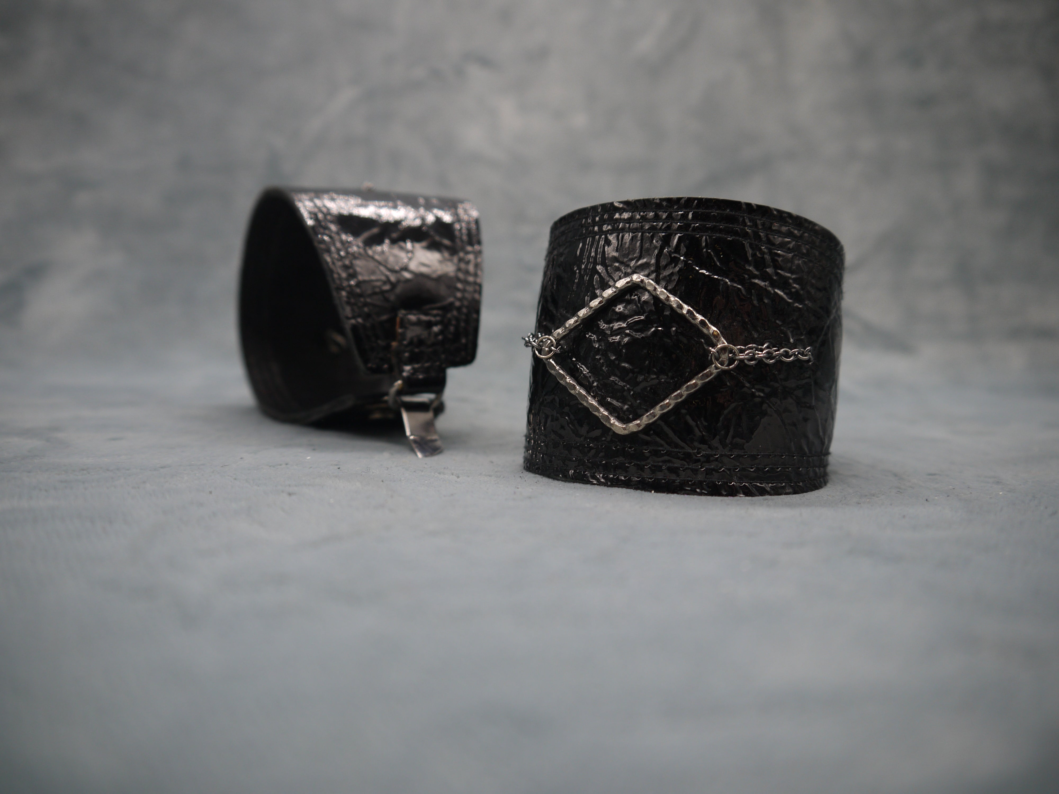 Leather Cuff Moss Midnight Blue Patent Leather with Metal Diamond Element
