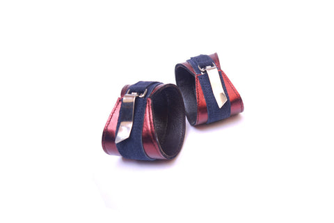 Navy/Metallic Rust Red Leather Cuff