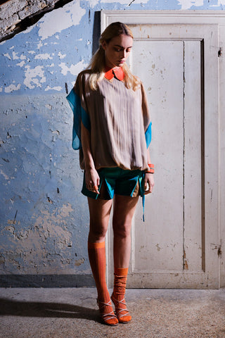 Tunic Top in Apricot/Turquoise silk