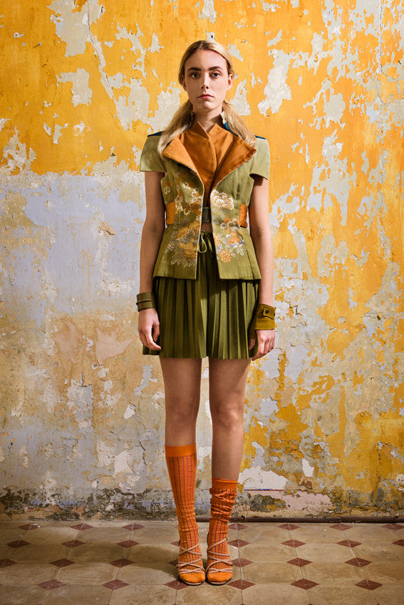 Unique outfit from the Wallflowers Collection Kimono tailored waistcoat jacket in cotton and silk and pleated skirt