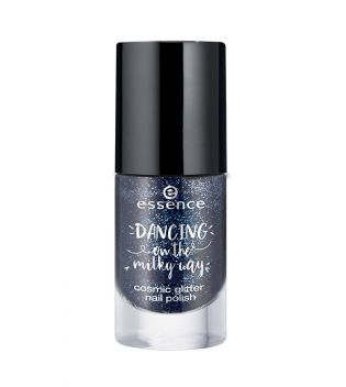 ESSENCE DANCING ON THE MILKY WAY COSMIC GLITTER NAIL POLISH 01 MOLTEN NIGHT SKY