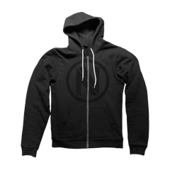Black On Black Zip Hoodie