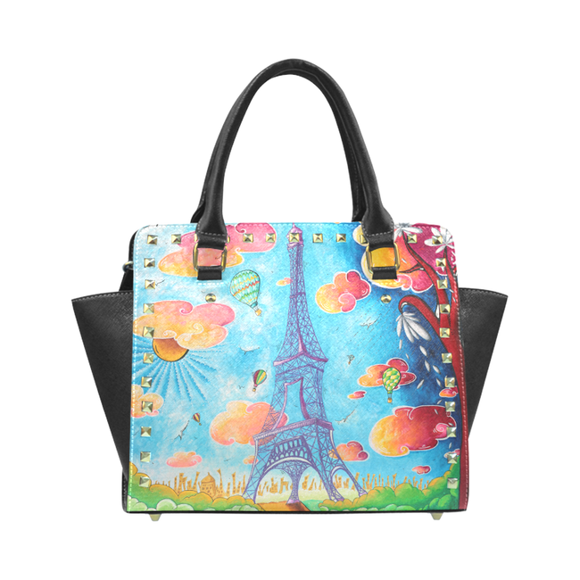 """Dreaming Of Paris"" Classic Riveted Handbag - Livin' the MAD Life"