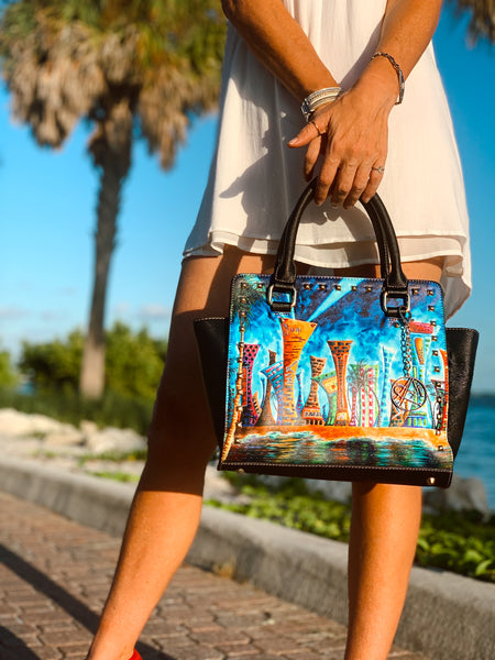 """Miami Night Life"" Classic Riveted Handbag - Livin' the MAD Life"