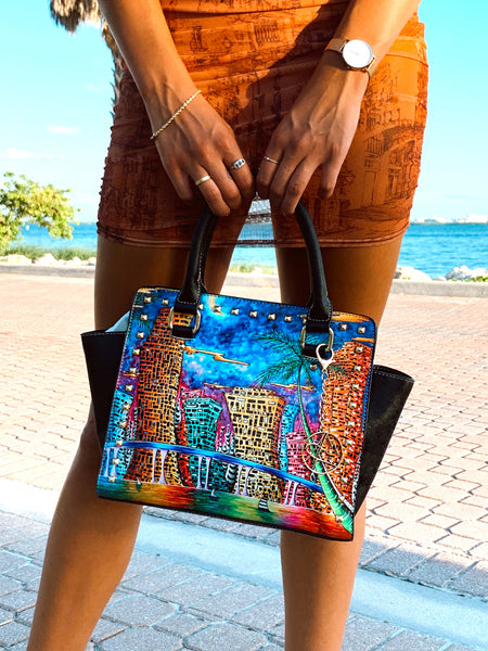 """Moon Over Miami"" Classic Riveted Handbag - Livin' the MAD Life"