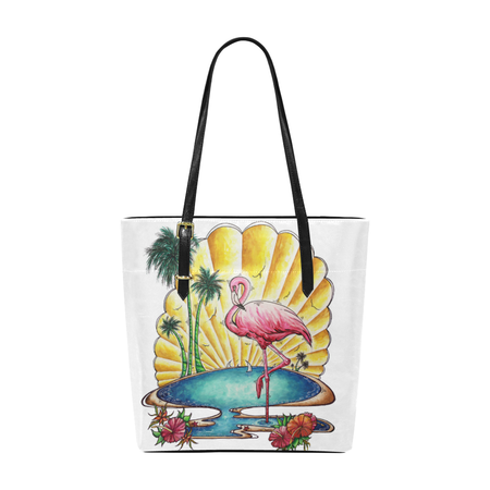 """Pink Flamingos"" Canvas Tote"