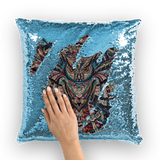 Glass Collection Fx - Owl Glass  Sequin Cushion Cover