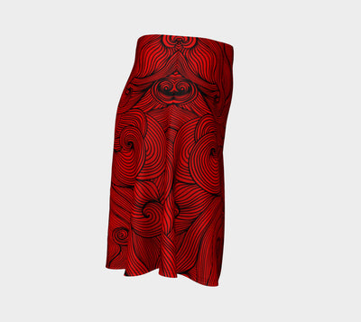 Escher Red Fx  - Flare Skirt