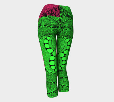 Bubble Gum Neon Green & Pink Fx - Yoga Capri