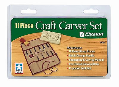Flexcut SK107 11 Piece Craft Carver Set, includes tool roll & project blank