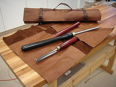 "Woodturning, Leather Chisel Roll, Vaqueta Leather.10 chisel slots 29"" x 21"""