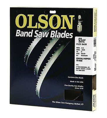 "Olson Woodworking  Band Saw Blade 105"" 1/2"" 10tpi Reg. Raker"