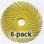 "3M Radial Bristle Discs, 80 Grit, Yellow, 2"", 6-Pk"